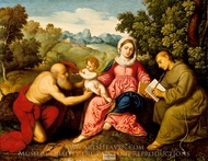 Madonna and Child with Saints Jerome and Francis painting reproduction, Paris Bordone