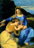 Madonna and Child with the Young St. John the Baptist and St. Catherine painting reproduction, Titian
