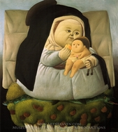 Madonna with Child painting reproduction, Fernando Botero
