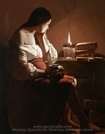 Magdalene with the Nightlight painting reproduction, Georges De La Tour