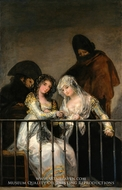 Majas on a Balcony painting reproduction, Francisco De Goya