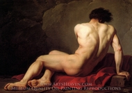 Male Nude known as Patroclus painting reproduction, Jacques-Louis David