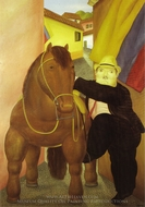 Man and Horse painting reproduction, Fernando Botero