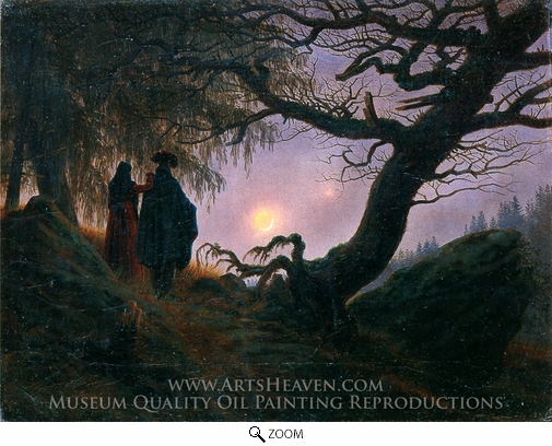 Painting Reproduction of Man and Woman Contemplating the Moon, Caspar David Friedrich