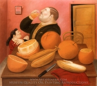 Man Drinking Orange Juice painting reproduction, Fernando Botero
