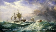 Man Overboard: Rescue Launch from HMS St. Jean d'Acre painting reproduction, Sir Oswald Walters Brierly