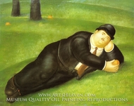 Man Reclining painting reproduction, Fernando Botero