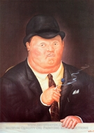 Man Smoking painting reproduction, Fernando Botero