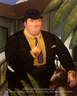 Man with Dog painting reproduction, Fernando Botero