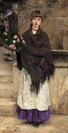 Marchande de Fleurs a Londre (Flower Seller in London) painting reproduction, Jules Bastien-Lepage