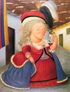 Marie Antoinette on a Visit to Medellin, Colombia painting reproduction, Fernando Botero