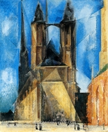 Market Church at Evening by Lyonel Feininger