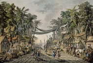 Market Scene in an Imaginary Oriental Port painting reproduction, Jean-Baptiste Pillement