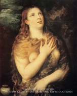 Mary Magdalen Repentant painting reproduction, Titian