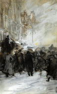 Matinee Crowd, Manhattan painting reproduction, Everett Shinn