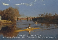 Max Schmitt in a Single Scull (The Champion Single Sculls) painting reproduction, Thomas Eakins