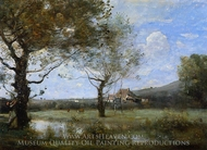 Meadow with Two Large Trees painting reproduction, Jean-Baptiste Camille Corot
