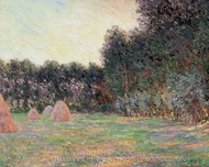 Meadows with Haystacks Near Giverny painting reproduction, Claude Monet