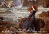 Miranda, the Tempest painting reproduction, John William Waterhouse