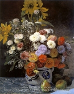 Mixed Flowers in an Earthenware Pot by Pierre-Auguste Renoir