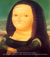 Mona Lisa (La Gioconda) painting reproduction, Fernando Botero