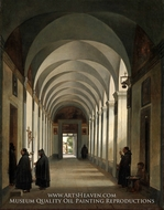 Monks in the Cloister of the Church of Gesu e Maria, Rome painting reproduction, Francois Marius Granet