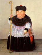 Monsenor painting reproduction, Fernando Botero