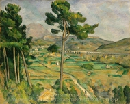 Mont Sainte-Victoire and the Viaduct of the Arc River Valley painting reproduction, Paul Cezanne