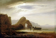 Moonlight at Giltar Point, Tenby Looking South painting reproduction, Arthur Gilbert