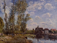 Moret, View from the Loing, May Afternoon painting reproduction, Alfred Sisley