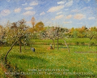 Morning, Spring, Grey Weather, Eragny painting reproduction, Camille Pissarro