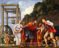 Moses Defending the Daughters of Jethro painting reproduction, Carlo Saraceni