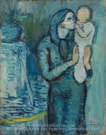 Mother and Child by a Fountain painting reproduction, Pablo Picasso (inspired by)