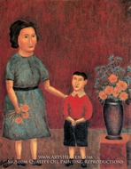 Mother and Child with a Bunch of Flowers painting reproduction, Andre Bauchant