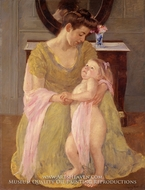 Mother and Child with a Rose Scarf by Mary Cassatt