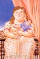 Mother and Son painting reproduction, Fernando Botero