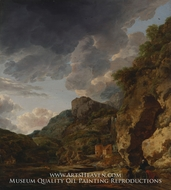 Mountain Landscape with River and Wagon painting reproduction, Herman Nauwincx