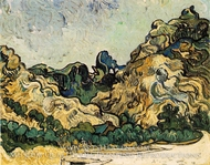 Mountains at Saint-Remy with Dark Cottage by Vincent Van Gogh