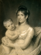 Mrs. Daniel Strobel, Jr. (Anna Church Strobel) and Her Son, George painting reproduction, John Vanderlyn