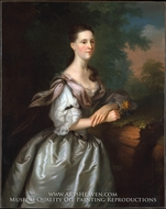 Mrs. Samuel Cutts painting reproduction, Joseph Blackburn