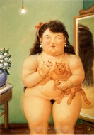 Mujer con Gato painting reproduction, Fernando Botero