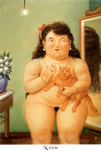 Painting Reproduction of Mujer con Gato, Fernando Botero