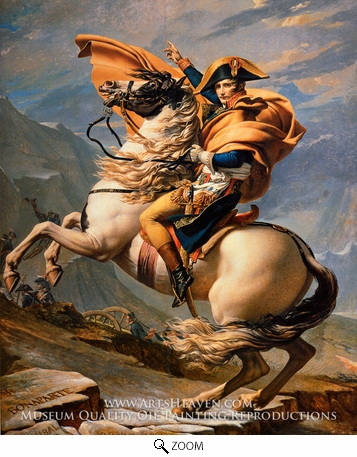 Painting Reproduction of Napoleon at the St. Bernard Pass, Jacques-Louis David