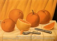 Naranjas painting reproduction, Fernando Botero
