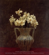 Narcisses in an Opaline Glass Vase painting reproduction, Henri Fantin-Latour