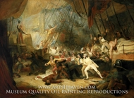 Nelson Boarding the San Josef at the Battle of Cape St. Vincent, 14 February 1797 painting reproduction, George Jones