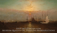 New York Harbor with Brooklyn Bridge painting reproduction, G. Baker