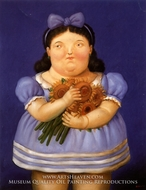 Nina con Flores painting reproduction, Fernando Botero