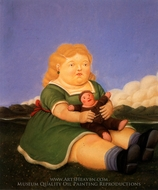 Nina con Muneco painting reproduction, Fernando Botero