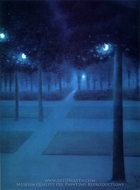 Nocturne at the Royal Park, Brussels painting reproduction, William Degouve De Nunques